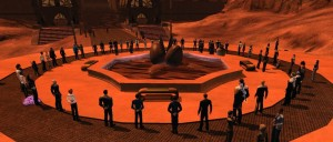Player-held memorial for Leonard Nemoy in Star Trek Online